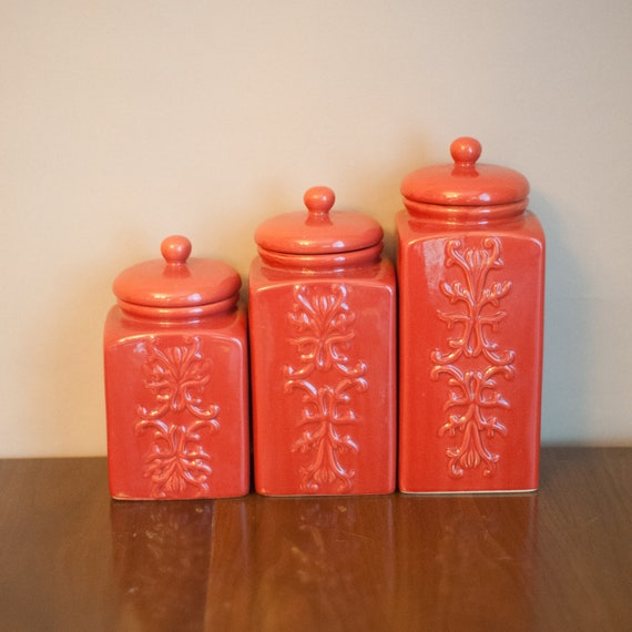 set of vintage coral ceramic canisters chinoiserie by