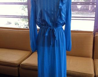 Vtg 70's Aqua Secretary Dress