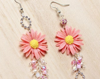Pink Daisies Mismatched Earrings - romantic jewellery - with daisy cabochons & swarovski crystals and pearls