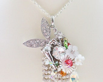 Fairy's Cloud Garden OOAK Statement Necklace - romantic jewelry - rhinestone fairy pendant, acrylic flowers, crystals & velvet ribbon