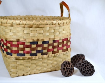"Large Woven Reed or Wicker Storage Basket  with Leather Handles - ""Desiree"""