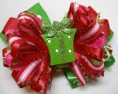 Over the Top Christmas Present Hair Bow Lime Grinch Green Red Large Layered Big Boutique Toddler Girl