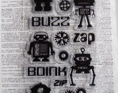Robot Stamps - Set of 16 - Clear Stamps - Gear Stamps - Scrapbook Stamps