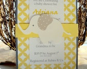 Elephant birthday invitations | Baby shower elephant invitations | Elephant wedding invitations | Elephant baby invitations | Personalized