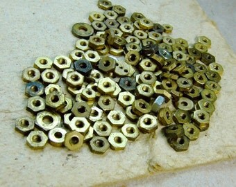 Vintage Small Brass Nuts - set of 100 - g67