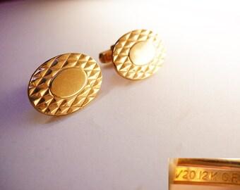 Engravable cufflinks / Vintage tuxedo set / Signet Cufflinks / 1/20 12KT GF / Businessman / Wedding Anson
