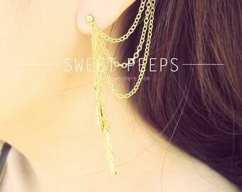 Gold Ear Cuff Set Falling Feathers