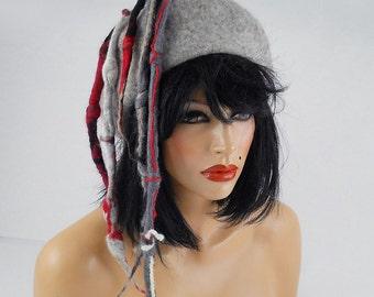 Designer Hat Felted Hat ETHNO BEAUTY Art Hat Gray Wild hat hats Felt wearable art Nunofelt Nuno felt