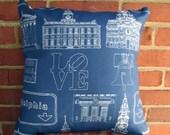 Philadelphia Landmark Pillow - Blue & Tan