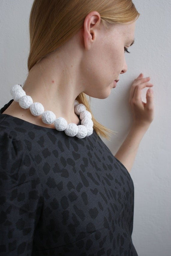 Set White beaded necklace and ring  fabric beads monochrome
