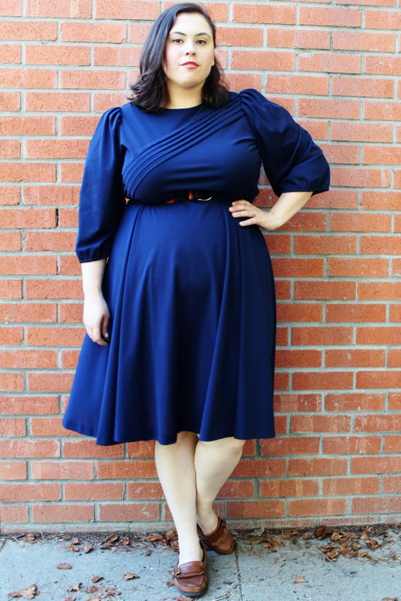 Plus Size Vintage Navy Swing Skirt Dress Size By Thecurvyelle