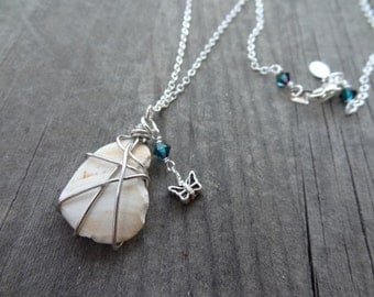 Silver Handmade Wire Wrap Crystal Shell Pendant Necklace Jewelry Sea Shell Butterfly Charm Butterflies Insect