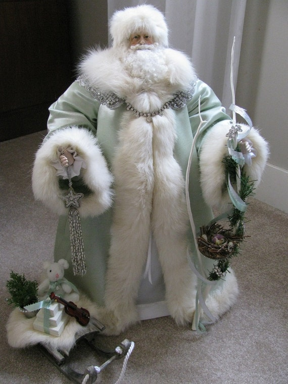 Father Christmas Doll: Green and Silver with Rhinestones and Vintage White Fox Fur ( One of a Kind Handmade Old World Santa Claus )