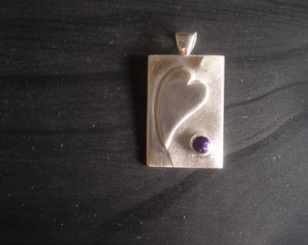 Handmade heart and natural amethyst sterling silver pendant