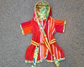 Beach Bath Robe 18mos -2T Toddlers from Beach Towel Short Sleeve Soft Velour Cover Up w/ Hood Yellow Orange Stripe FlipFlop Sandle Print