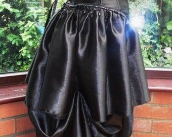 handmade Ooak goth steampunk burlesque black beaded satin corset long frilled satin bustle skirt