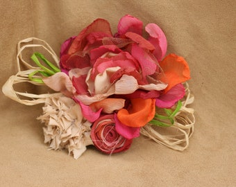 boho rustic flower hair piece pink coral cream orange champagne photo prop bridesmaid hair clip fabric bridal flower girl fascinator wedding