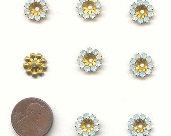 12 Vintage Swarovski White Opal 9 Rhinestone Brass 11mm Round Bead Findings E156