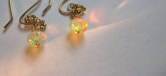 Gorgeous AAAA Rare Ethiopian Opal Earrings With 14k Gold Filled Artisan Wires October Birthstone
