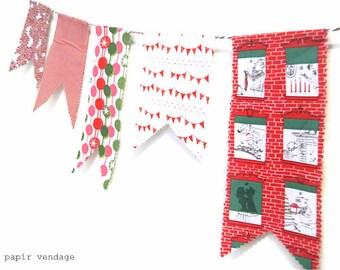 Christmas Bunting Banner, 10ft Christmas Fabric Bunting , Christmas Decorations, Christmas Garland, Winter Home Decor, Fishtail Bunting