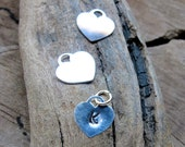 Initial Heart Charm - Sterling Silver Personalized Letter Add on - Monogram Hand Stamped Heart