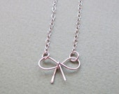 Sterling Silver Bow Necklace - Elegant Bow Pendant - Gift for Her - bridemaid gifts ideas - mom, daughter, sister, lovers