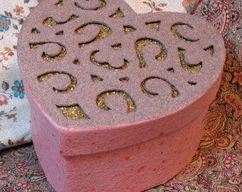 Decorative Heart Box with Gold Swirls -- Handmade Recycled Paper and Sand Painting