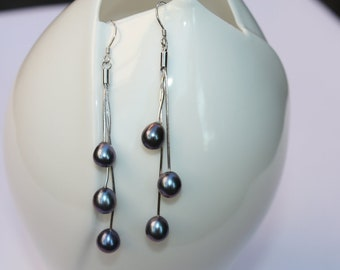 3 Pearl drop, dangling earrings/ Long Black Pearl Bridal Earrings/Gift Idea for her
