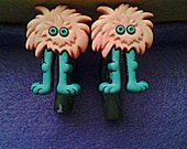 Monster, Dinosaur, and Hello Kitty Polymer Clay Hook Ear Gauges Sizes 6-00G (Made-To-Order) FREE SHIPPING