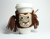 Wolfman coffee cozy, Coffee Sleeve, Halloween Monster Can Holder, Crochet Drink Cup Holder, Java Jacket