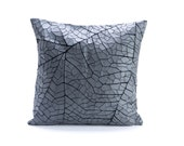 "Grey and black designer throw pillow cover 19.6x19.6"" -  50x50cm. Nature inspired  Decorative Design. Removable Cotton print. 19.6x19.6 inc"