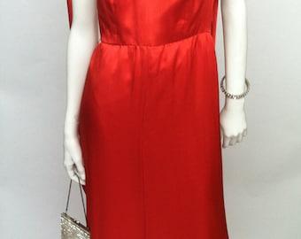 Fire Red Silk Evening Dress by Oscar de la Renta