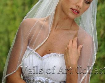 Designer One Tier Embroided Bridal Wedding Veil Fingertip Style VE316 NEW CUSTOM VEIL