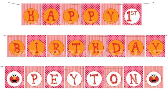 Happy Birthday Girly Elmo themed Banner with name - Custom Digital File
