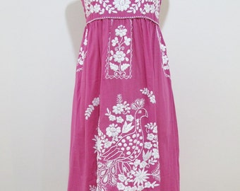 Mexican Embroidered Sundress Cotton Strapless Dress With Lining, Boho Dress, Beach Dress
