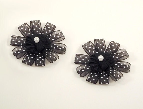 Black White Polka Dot Shoe Clips