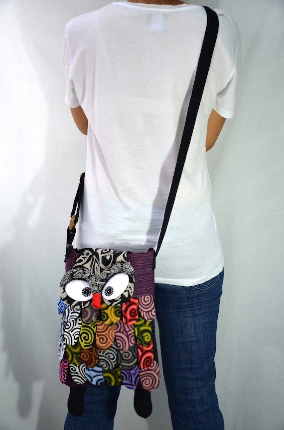 Large - Purple Thai Unique Hip Bag Handmade Owl Patchwork Crossbody Bag Messenger D5150