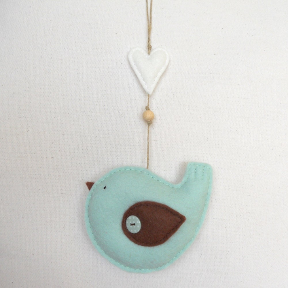 Pdf Pattern Felt Bird With Heart Ornament Felt Ornament