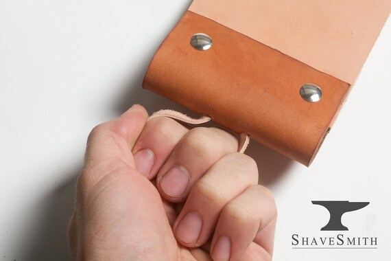 Supersized Razor Strop Kit: Leather Hanging Strop, and Abrasive Balsa Wood