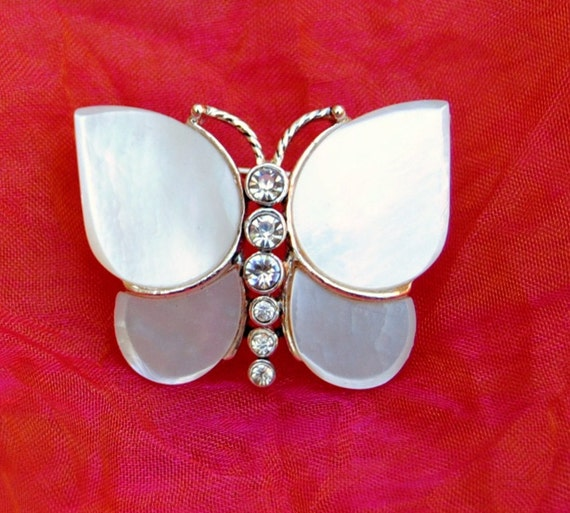 Vintage Monet Butterfly - Mother of Pearl & Silver - 1970's - Fabulous