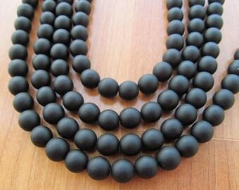 Black beads 8mm round matte sea glass 8 inch strand
