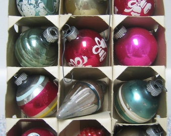 Vintage Christmas Ornaments Shiny Brite Decal Stripes and Unique Shapes