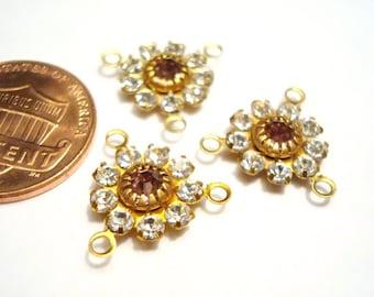 6 Vintage Swarovski Crystal Rose Rhinestone Flower 3 Loop Connectors R4