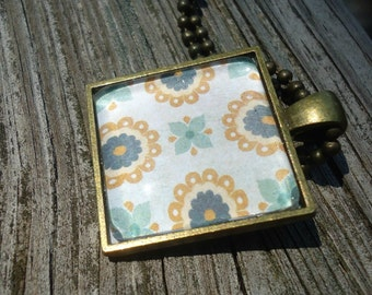 Blue & Tan Flower Pattern, Glass and Bronze Pendant Tray