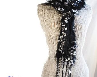 Scarf Women Black fuzzy scarf elegant fun deevinci READY TO SHIP