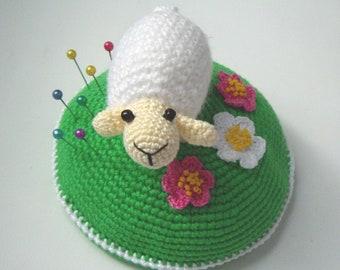"PDF PATTERN Crochet pin cushion /home decor ""Little white sheep on blooming green lawn""/cute lamb on meadow/kawaii ewe/mother's day gift"