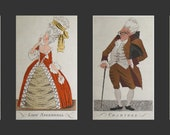 4 Vintage Hand Colored Etchings by Rene Ben Sussan Lady Teazle, Crabtree, Lady Sneerwell, Moses