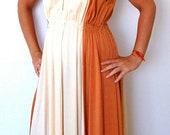 Vintage Dress - 1970s Grecian Goddess Bronze & Gold Maxi Dress