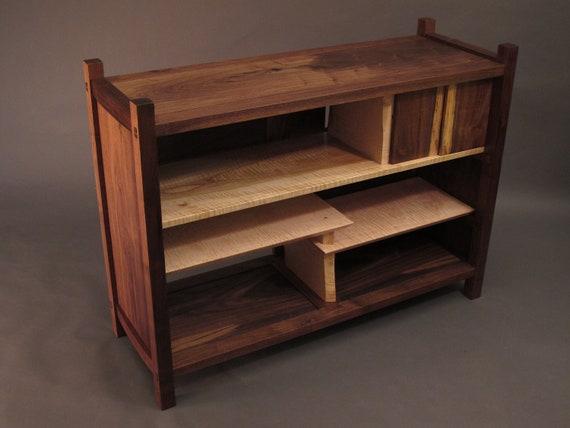 Tv console cabinet mid century modern media wood