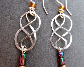 Hammered Silver Plated Wire Scroll Dangle Earrings with Swarovski crystals and copper accent beads from Third Time's A Charm